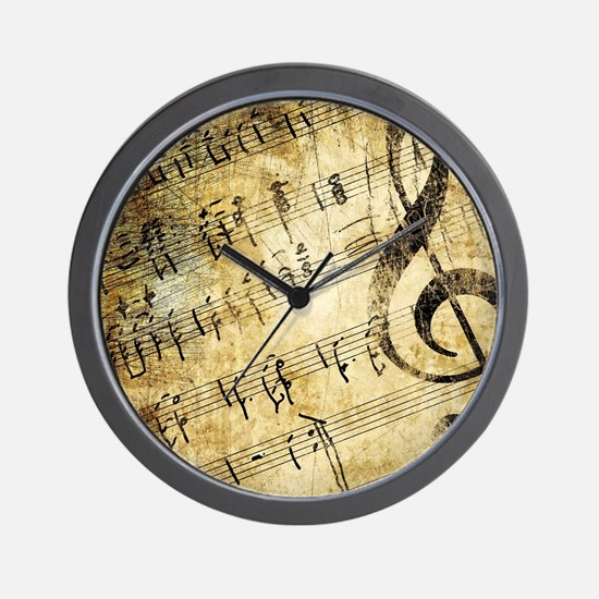 Grunge Music Note Wall Clock