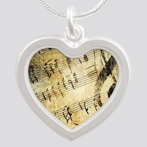 Grunge Music Note Silver Heart Necklace