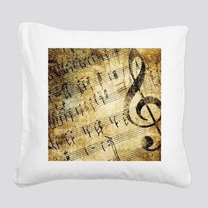 Grunge Music Note Square Canvas Pillow