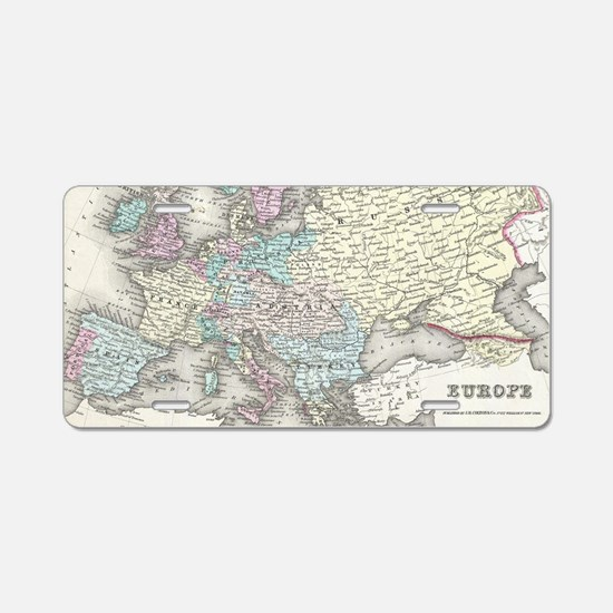 Vintage Map of Europe (1855 Aluminum License Plate