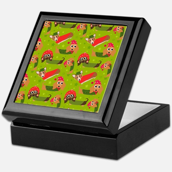 Winter Dachshund Cartoon Fun Pattern Keepsake Box