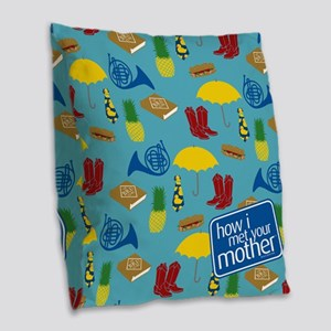 HIMYM Pattern Burlap Throw Pillow