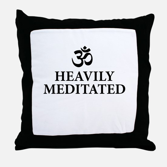 Heavily Meditated - funny yoga Throw Pillow