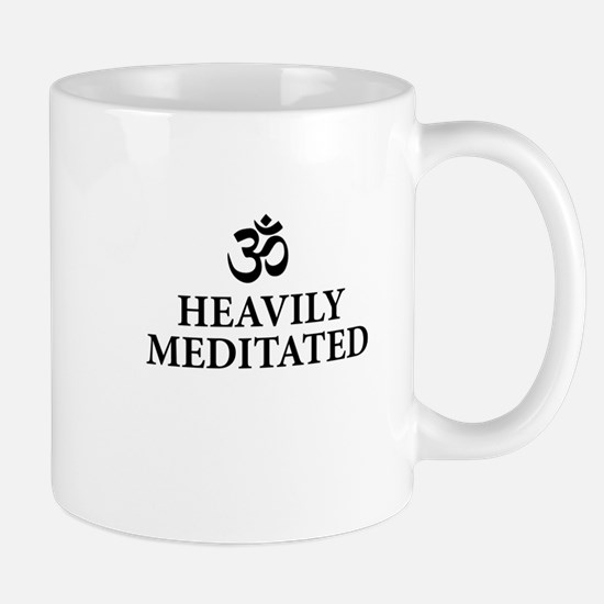 Heavily Meditated - funny yoga Mugs