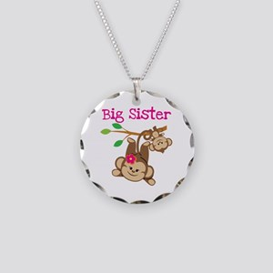 Monkey Big Sis W. Baby Bro Necklace Circle Charm