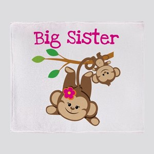 Monkey Big Sis W. Baby Bro Throw Blanket