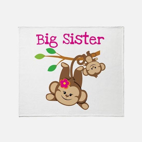 Monkey Big Sis W. Baby Bro Throw Blanket