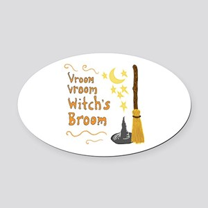 Vroom Vroom Witch's Broom Oval Car Magnet