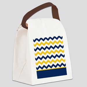 Blue and Yellow Chevron Stripe Canvas Lunch Bag