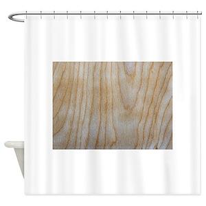 Wood Grain Veneer Pattern Panel Shower Curtains