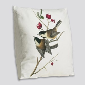 Black-Capped Chickadee Burlap Throw Pillow