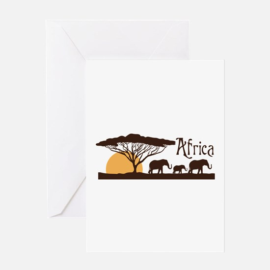 African Sunset Greeting Cards