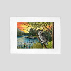 Bird 68 Owl 5'x7'Area Rug
