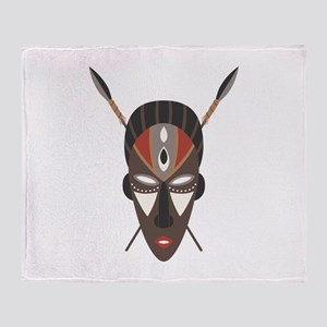 African Tribal Mask Throw Blanket