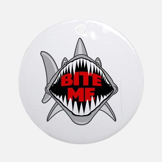 Bite Me Shark Round Ornament