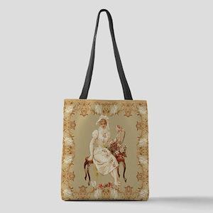vintag-woman-on-bench_tile Polyester Tote Bag
