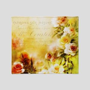 Autumn french roses Throw Blanket