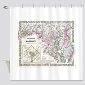 Vintage Map of Maryland (1855) Shower Curtain