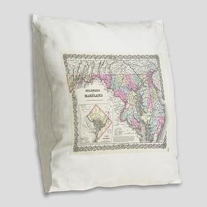 Vintage Map of Maryland (1855) Burlap Throw Pillow