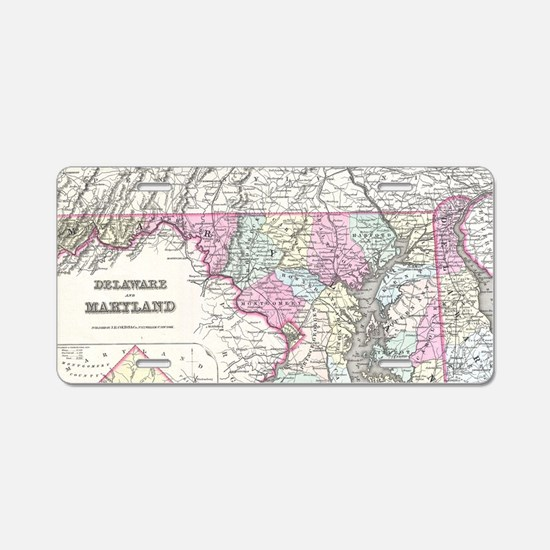 Vintage Map of Maryland (18 Aluminum License Plate
