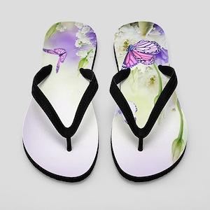 Flowers and Butterflies Flip Flops