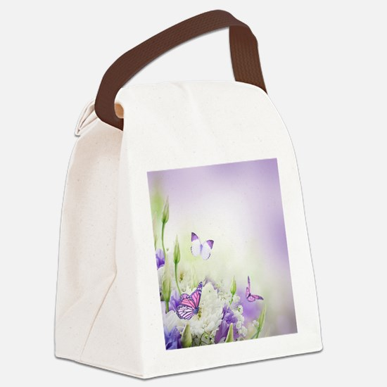 Flowers and Butterflies Canvas Lunch Bag