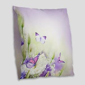 Flowers and Butterflies Burlap Throw Pillow