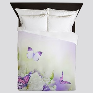 Flowers and Butterflies Queen Duvet