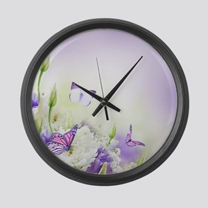 Flowers and Butterflies Large Wall Clock