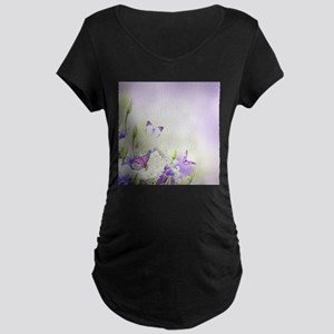 Flowers and Butterflies Maternity T-Shirt