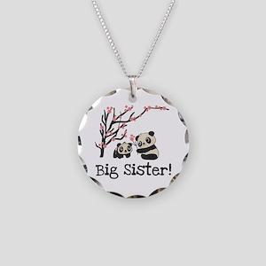 Panda Bears Big Sister Necklace Circle Charm
