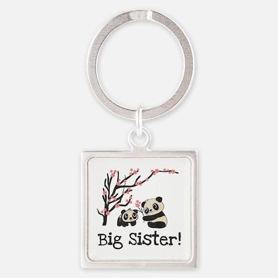 Panda Bears Big Sister Square Keychain Keychains