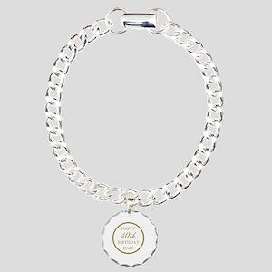 Happy 40th Birthday Dad Charm Bracelet, One Charm