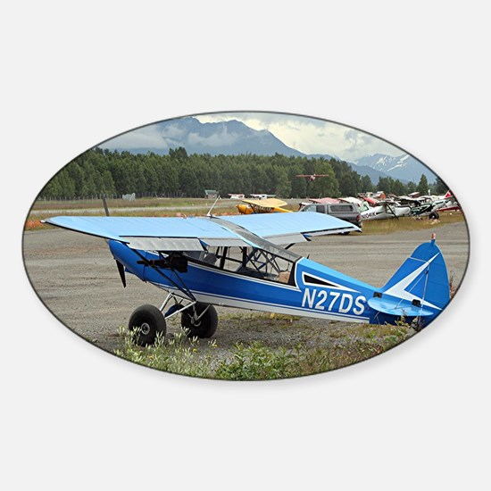 High wing aircraft (blue & white) Sticker (Oval)