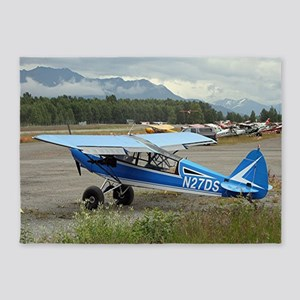 High wing aircraft (blue & white) 5'x7'Area Rug