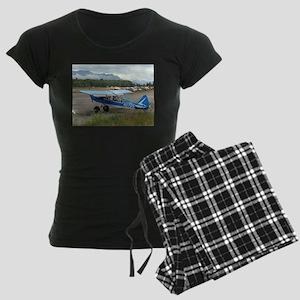 High wing aircraft (blue & w Women's Dark Pajamas