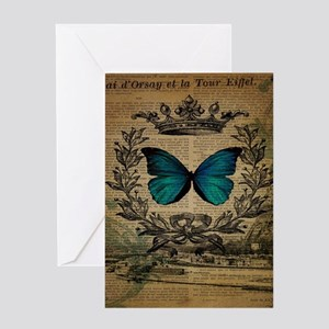 floral vintage paris blue butterfly Greeting Cards