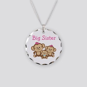 Big Sister With Siblings Necklace Circle Charm