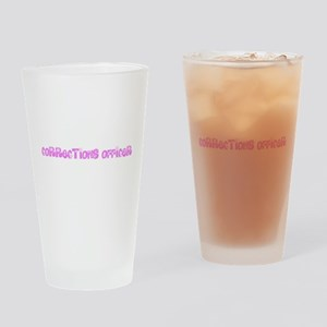 Corrections Officer Pink Flower Des Drinking Glass