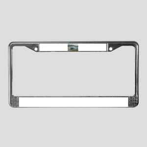 High wing aircraft (blue & whi License Plate Frame