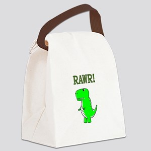 Cute Angry T-Rex RAWR Canvas Lunch Bag