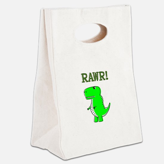 Cute Angry T-Rex RAWR Canvas Lunch Tote