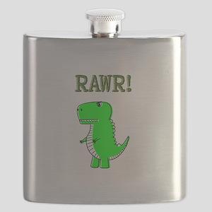 Cute Angry T-Rex RAWR Flask