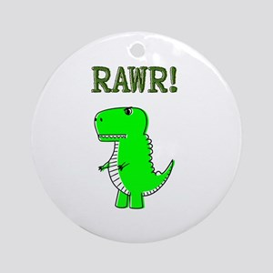 Cute Angry T-Rex RAWR Round Ornament