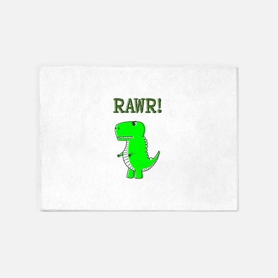 Cute Angry T-Rex RAWR 5'x7'Area Rug