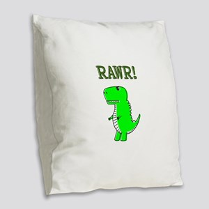 Cute Angry T-Rex RAWR Burlap Throw Pillow