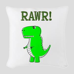 Cute Angry T-Rex RAWR Woven Throw Pillow
