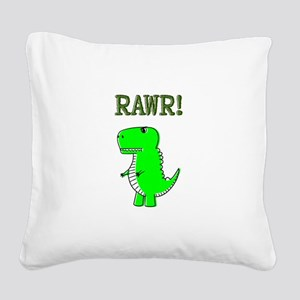 Cute Angry T-Rex RAWR Square Canvas Pillow