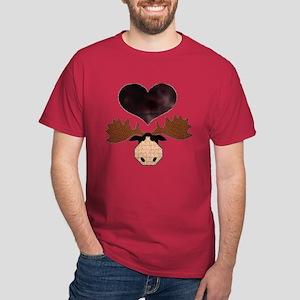 Brown Heart Moose Dark T-Shirt