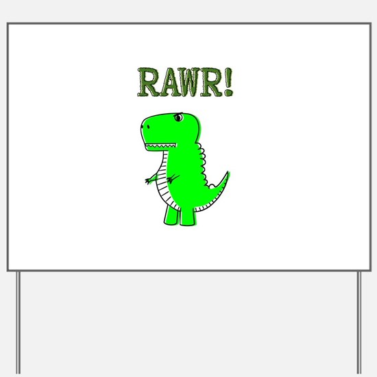 Cute Angry T-Rex RAWR Yard Sign